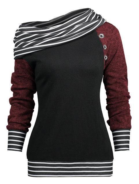 gamiss Women Fashions Stripe Trim Skew Neck Raglan Long Sleeve Sweatshirts Springuotelab 17