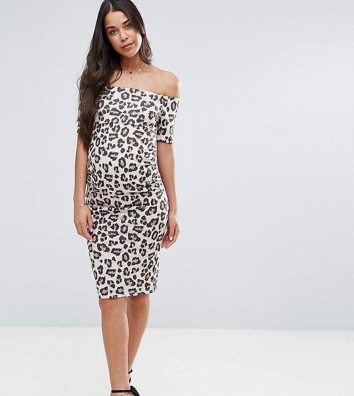 Asos Maternity Off Shoulder Bardot Dress In Leopard Print