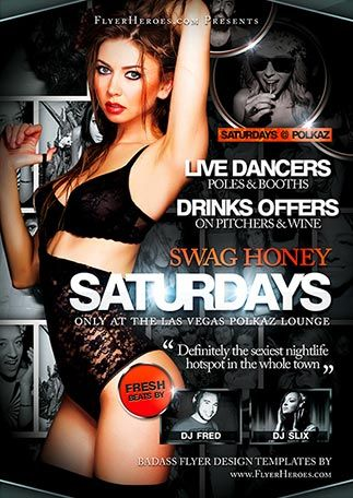 Free Swag Honey Saturdays Flyer Template - http://freepsdflyer.com/free-swag-honey-saturdays-flyer-template/ Swag Honey Saturdays is a stunning, crisp and high-end club flyer template that can be very easily customised to match your / your client's brand in a matter of minutes. It's free too.   #Club, #Dance, #Deluxe, #Diva, #Electro, #Glamorous, #Lounge, #Night, #Nightclub, #Party, #Sexy, #SpringBreak, #Summer