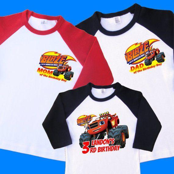 Blaze Birthday Shirts Set Of 3 Family Birthday Raglans 1