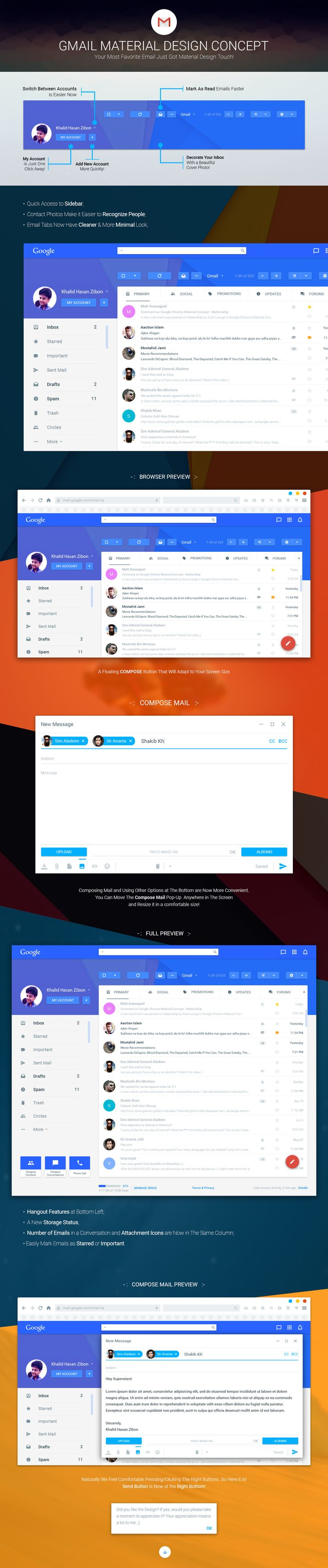 Gmail Material Design Concept on Behance