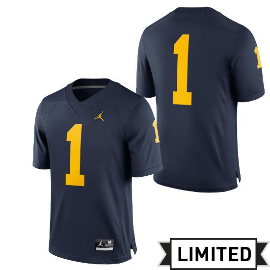 NOTE:  Need XL maybe a 2X as these run small! Jordan University of Michigan Football Navy #1 Limited Jersey