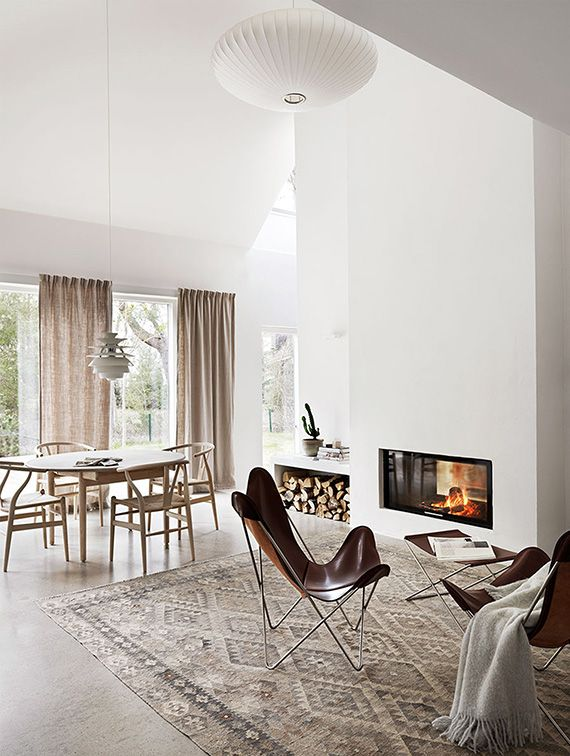 Scandinavian living room with fireplace. Photo by Petra Bindel