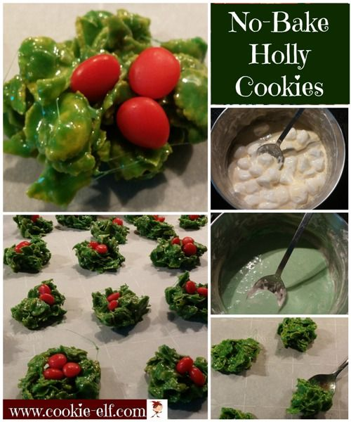No-Bake Holly Cookies are an easy Christmas cookie recipe for kids and a colorful addition to a Christmas cookie tray. The corn flakes imitate the leaves on a holly branch. Cinnamon candies mimic holly berries. Get the recipe: http://www.cookie-elf.com/no-bake-holly-cookies.html