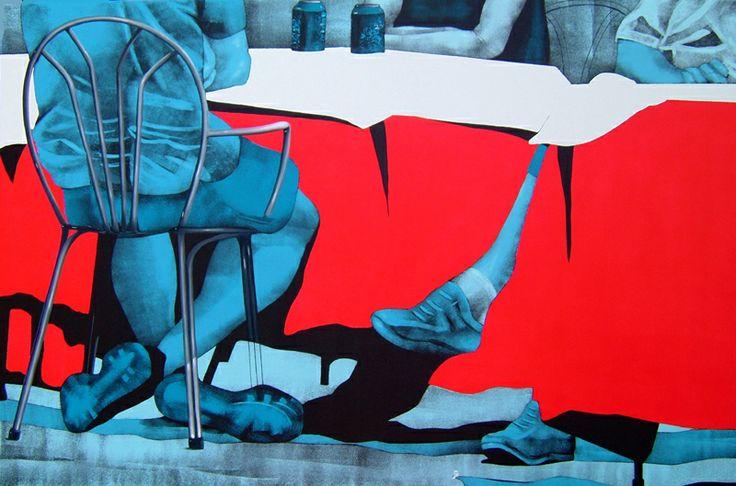 Daniela Caciagli, 'Tovaglie rosse', acrilico e olio su tela, cm 80 x 120