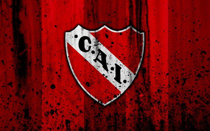Download wallpapers 4k, FC Independiente, grunge, Superliga, soccer, Argentina, logo, Independiente, football club, stone texture, Independiente FC