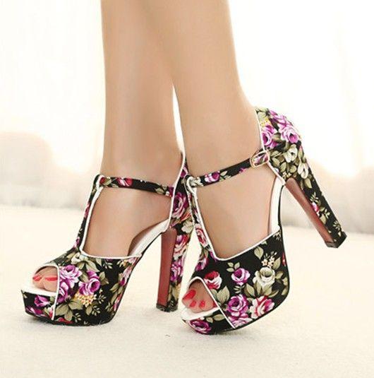 Красные нижние высокие каблуки туфли на высоком каблуке платформы дамы свадебные туфли женщины цветы печатные лодыжки сандалии для женщин обувь SW33552 купить на AliExpress