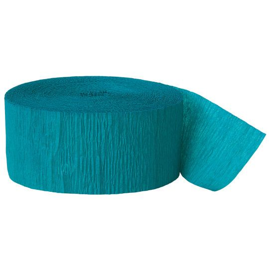 Crepe Paper Teal Party Streamers, 81 Ft.