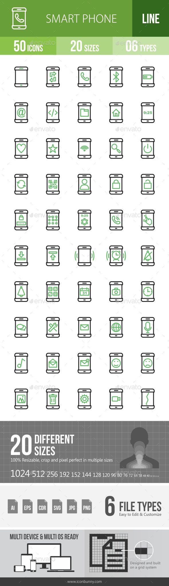 Smartphone Line Green & Black Icons  — PNG Image #messaging icon #user icon…