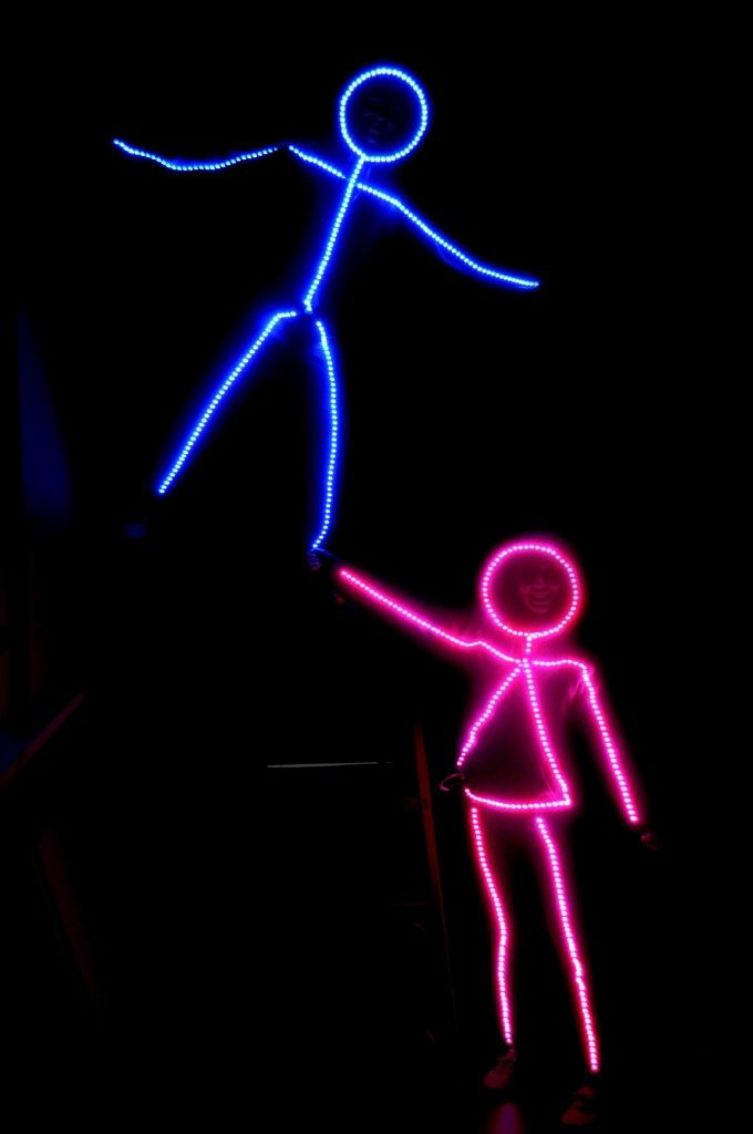 LED stick figure halloween costume with instructions and video instructions