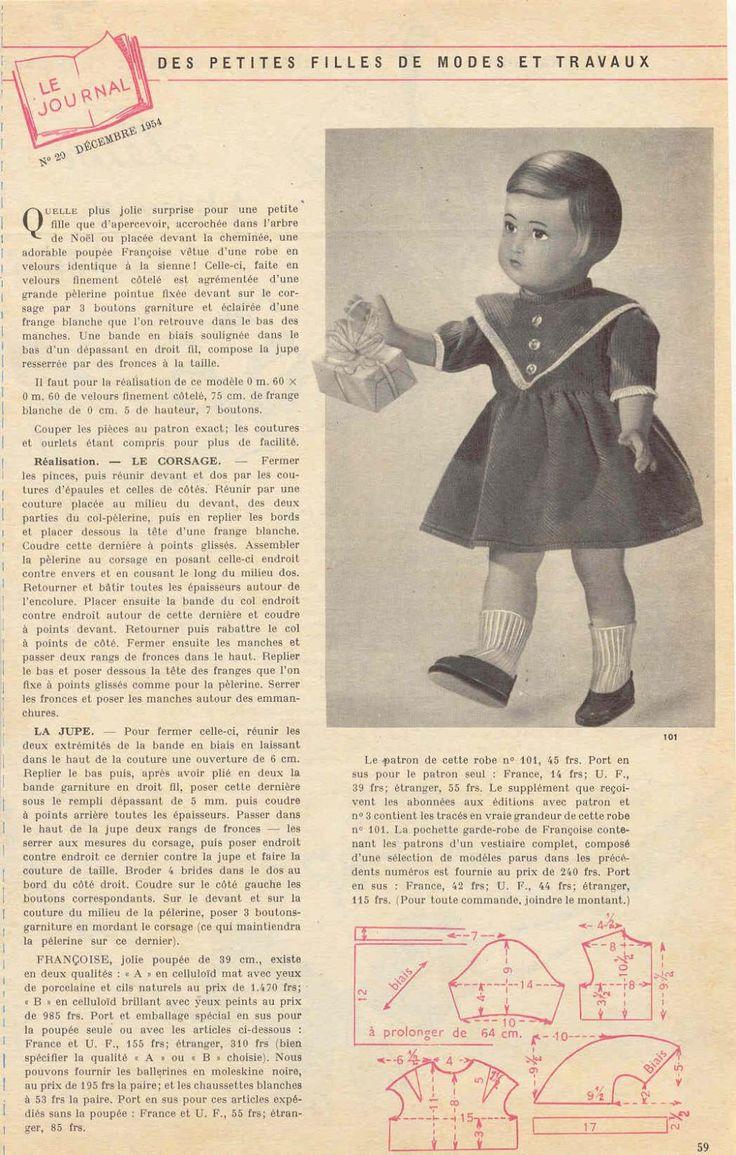 PAR AMOUR DES POUPEES :: M&T 1954-12 robe en velours pour Françoise (couture)