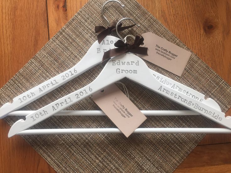 Hand stamped wedding hangers- choose for wedding party etc, and wording can be altered also - go to our Facebook page to enter our competition