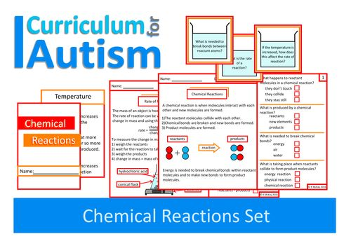 Chemical Reactions Pack- Worksheets, Task Cards, Mini Book- Autism
