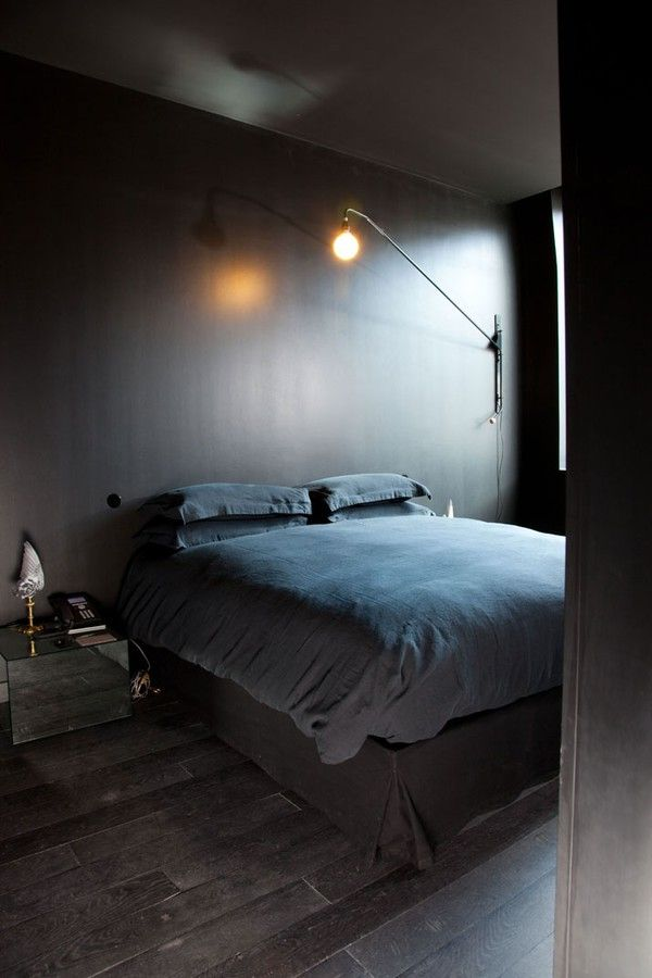 dark bedroom photo-martine-houghton: Grey Bedrooms, Wall Lamps, Kitchens Design, Dark Rooms, Bedrooms Design, Interiors Design, Black Bedrooms, Dark Bedrooms, Maison Martin Margiela