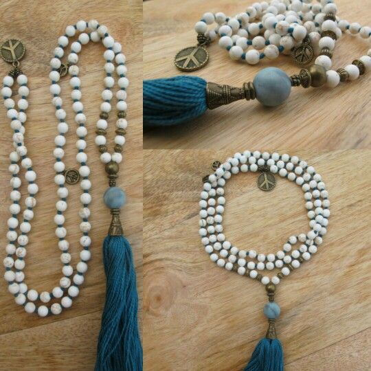 White Turquoise with Turquoise tassel. Handmade malabead necklace.