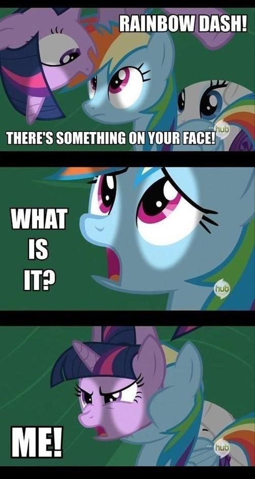 My Little Pony: Friendship is Magic Rainbow Has Twilight on her face