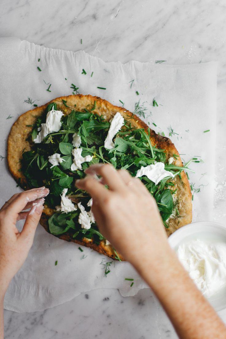 sourdough spelt pizza with mascarpone, ricotta, shredded burrata and fresh herbs