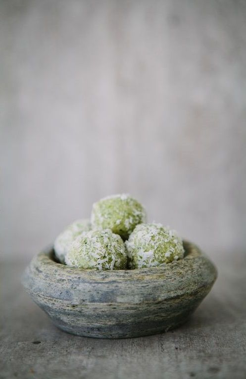 lime mint cookie balls by made by mary, (raw, vegan, gluten-free).