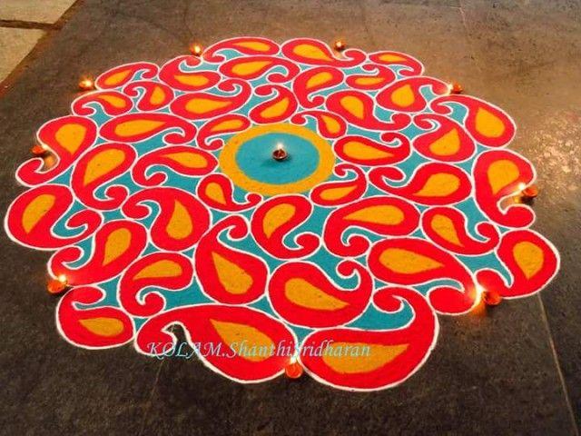 67 best rangoli images on pinterest diy christmas for Home made rangoli designs