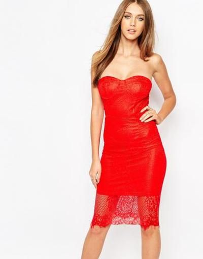 missguided lace bandeau dress  red #lacedress #lace #bandeau #feminie #strapless #covetme
