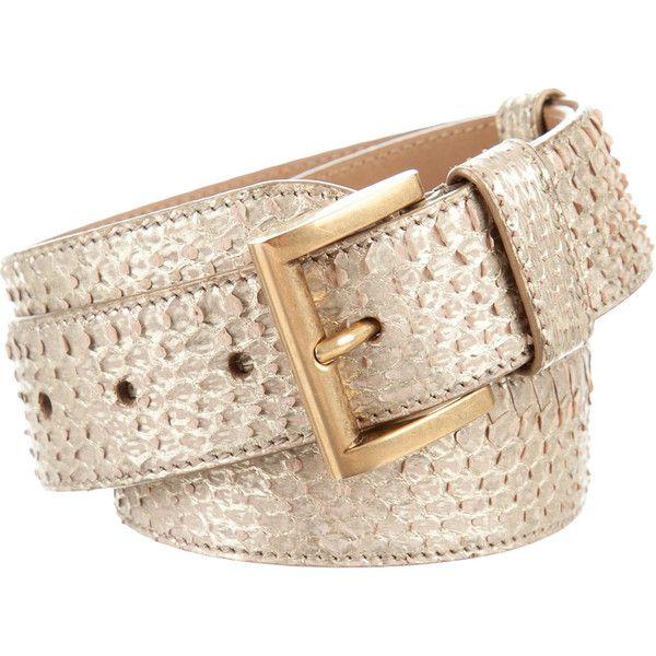 Pre-owned Prada Python Buckle Waist Belt (25825 RSD) ❤ liked on Polyvore featuring accessories, belts, metallic, snake print belt, beige belt, metallic belts, waist belt and gold metallic belt