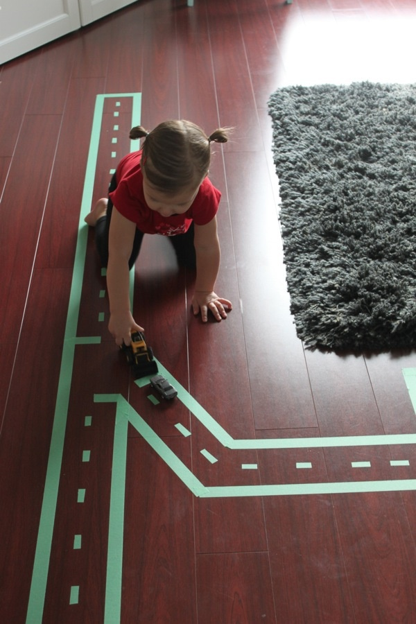 Painters tape car track.
