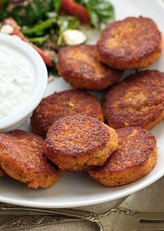 Red Lentil Kofta - toss these mouthwatering little pan-fried patties onto a salad for lunch, or stuff into a sprouted-grain pita with cucumber and tomato for supper.