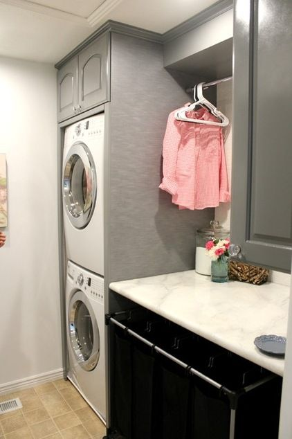 Transitional  Laundry Room. See the before and after of this great laundry room remodel for only $400!