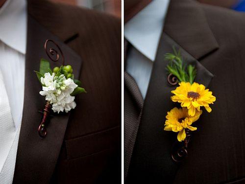 бутоньерка желтая свадьба