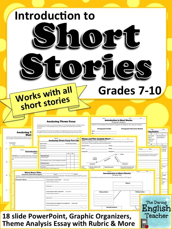 Teach your middle and high school students all about short stories with this unit. It includes an editable PowerPoint, graphic organizers and an essay to use with ANY short story. Common Core. Short Stories. Grades 7-10.