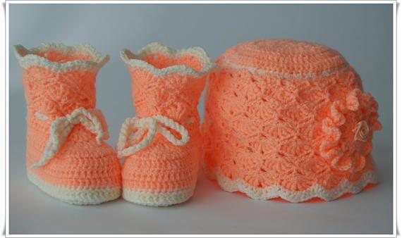 Детские пинетки и шапочка Детская обувь Головные уборы для младенцев Всего вязаная обувь Обувь для младенцев Подарок для беременных Подарок на Рождество.