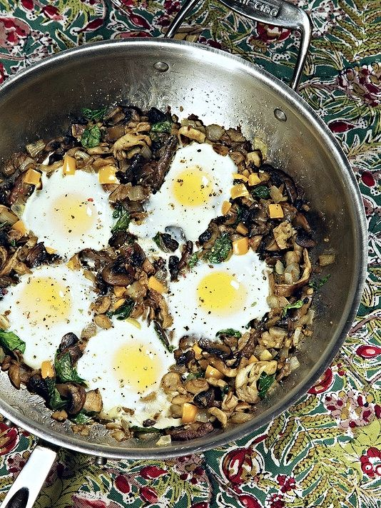 Mushroom and Spinach Baked Eggs