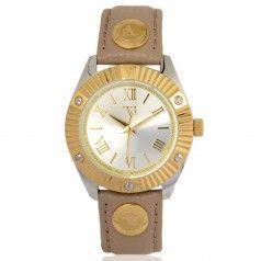 TOV Essentials dameshorloge 1456 Een schitterend geel gouden horloge in combinatie met zilver. De knoppen op de band zijn goud. De band heeft een zacht bruine kleur. Het horloge is 3 ATM waterdicht