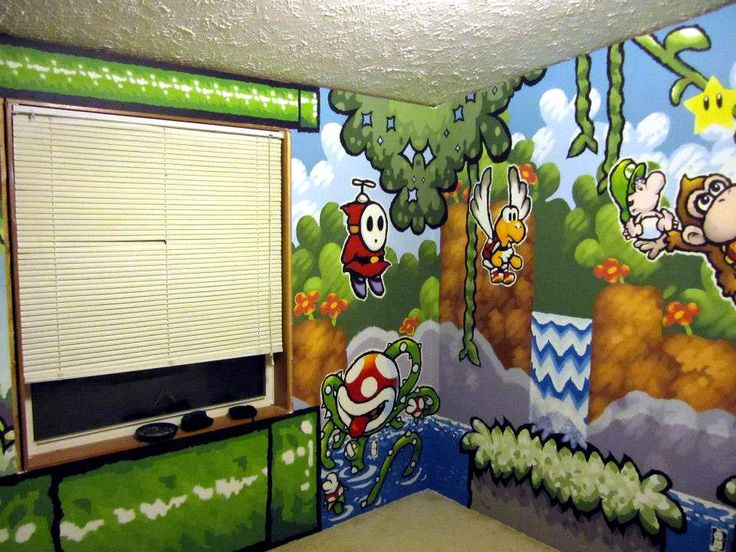 A bedroom painted in a Yoshi's Island Super Nintendo theme!!! Painted by Matt Chalik. :)