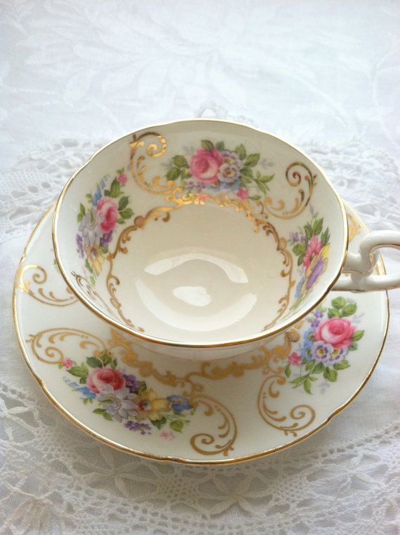 Antique Signed Royal Grafton Bone China Teacup by MariasFarmhouse, $65.00