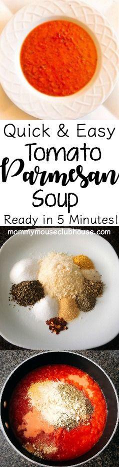 Quick & Easy Tomato Parmesan Soup. Easy, Creamy, Healthy, Basil, Recipe