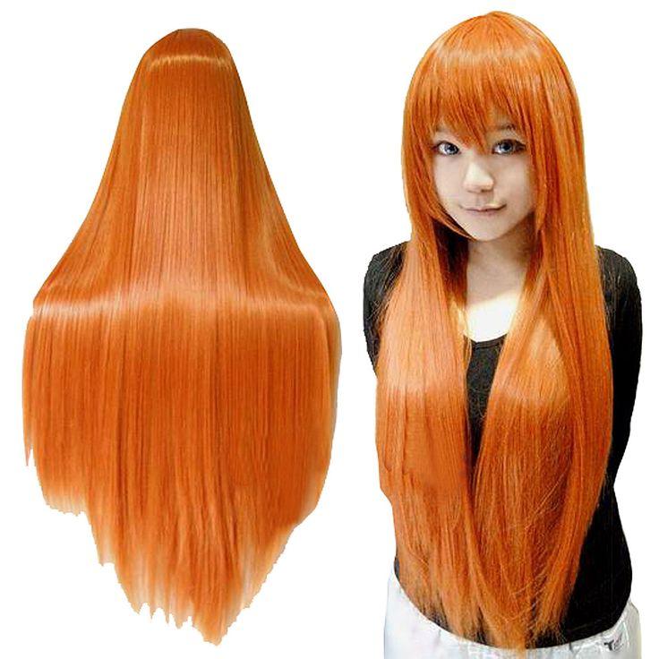 Arancione delle donne Parrucche Con La Frangetta Parrucca Cosplay Parrucca Diritta Lunga Parrucca di Capelli Vendita