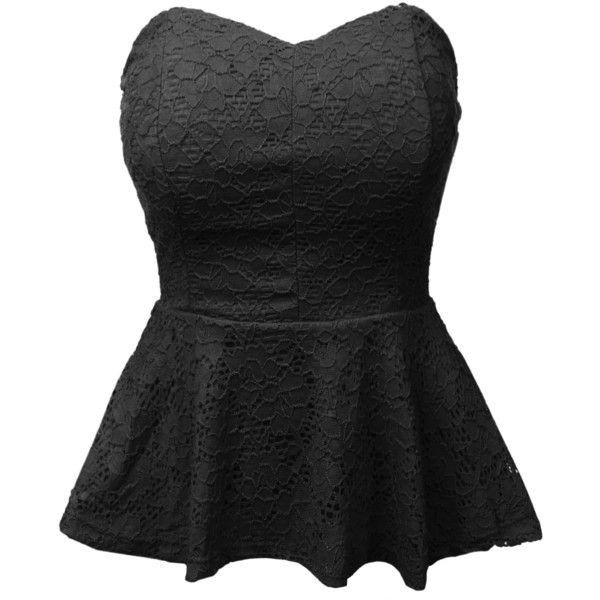 LE3NO Womens Stretchy Strapless Lace Peplum Cropped Top ($12) ❤ liked on Polyvore featuring tops, shirts, evening tops, strapless crop top, stretch crop top, strapless tops and stretch shirt