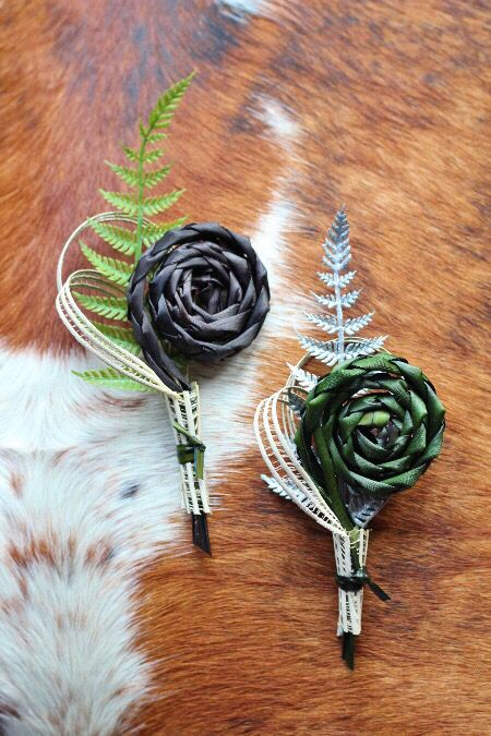 Koru buttonholes www.flaxation.co.nz