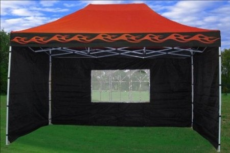 10x15 pop up 4 wall canopy party tent gazebo set ez red flame patio lawn garden. Black Bedroom Furniture Sets. Home Design Ideas