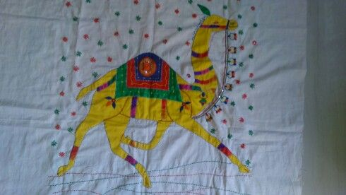 Camel mirror patchwork wall hanging kutchi pic