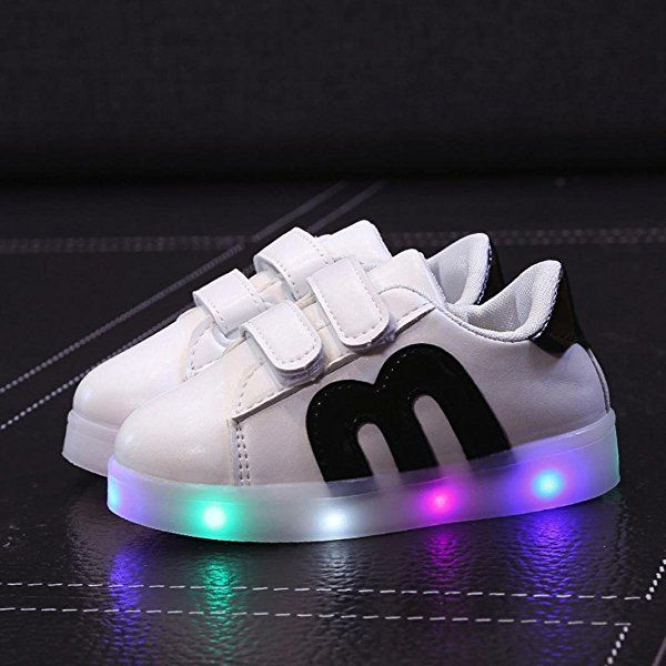 Kids Led Lights Sneakers Pu Leather Non-slip Casual Skateboard Shoes for Child