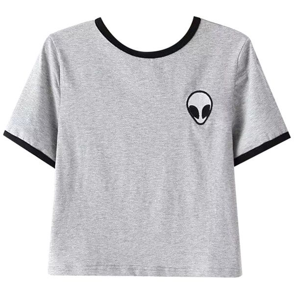 Chicnova Fashion Alien Print Cropped T-shirt (£6.25) ❤ liked on Polyvore featuring tops, t-shirts, shirts, t shirts, print shirts, round neck t shirt, pattern shirt, print tee and regular fit shirt