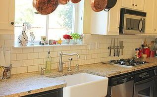 my favorite room my kitchen, countertops, doors, home decor, kitchen design, kitchen island, Farm Style sink and Copper Pots hanging above give my kitchen a truly rustic feel