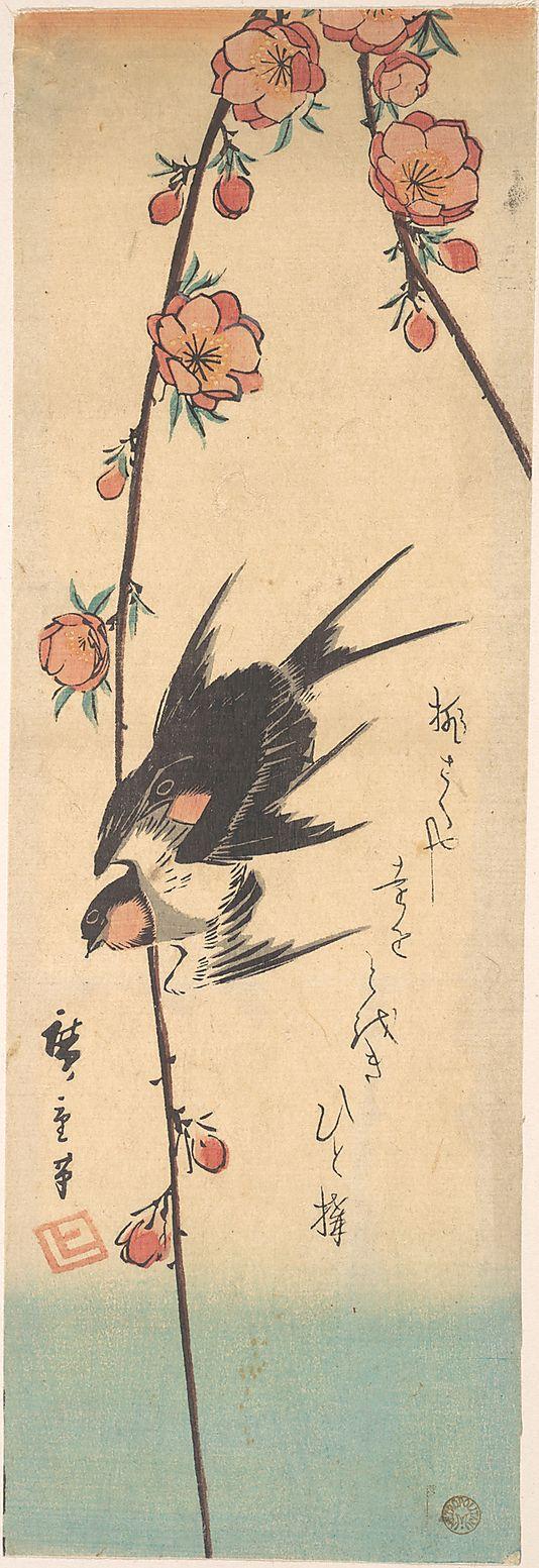 Pear Blossoms and Swallows, Utagawa Hiroshige - Japanese Woodblock print, ca. 1840