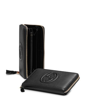 Soho Leather Zip-Around Wallet, Black by GUCCI at Neiman Marcus.