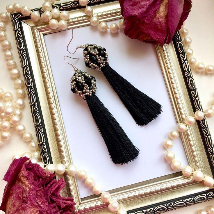 Купить Чёрные серьги кисточки - черные кисти, черные серьги, черные серьги купить