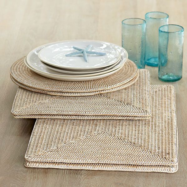 Wisteria - Accessories - Shop by Category - Tabletop - Square Rattan Placemats - Set of 2