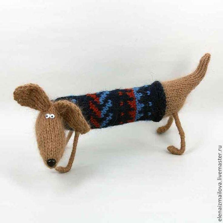 Купить Собачка, такса - синий, подарок на любой случай, отличный подарок, пес, собака игрушка