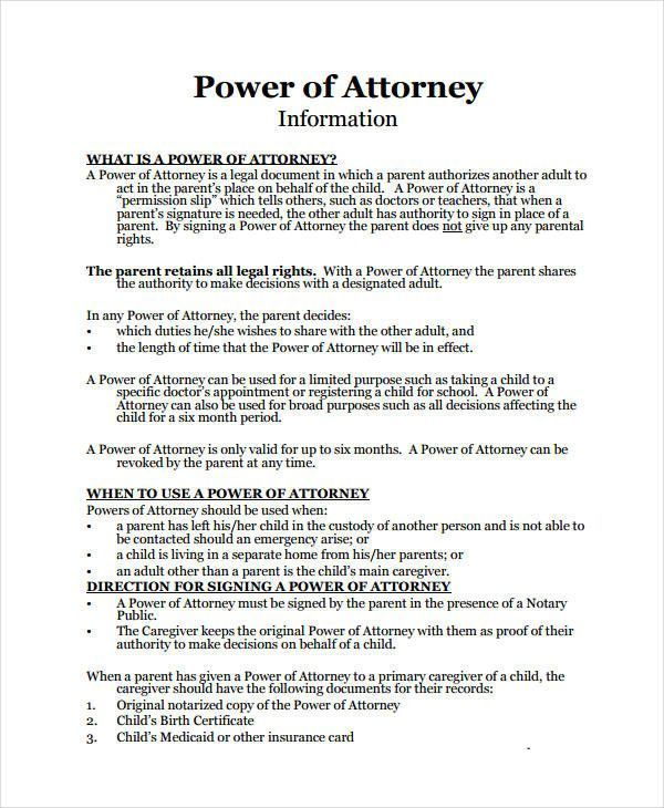 Power Of Attorney Template For Children Cool 9 Medical Power